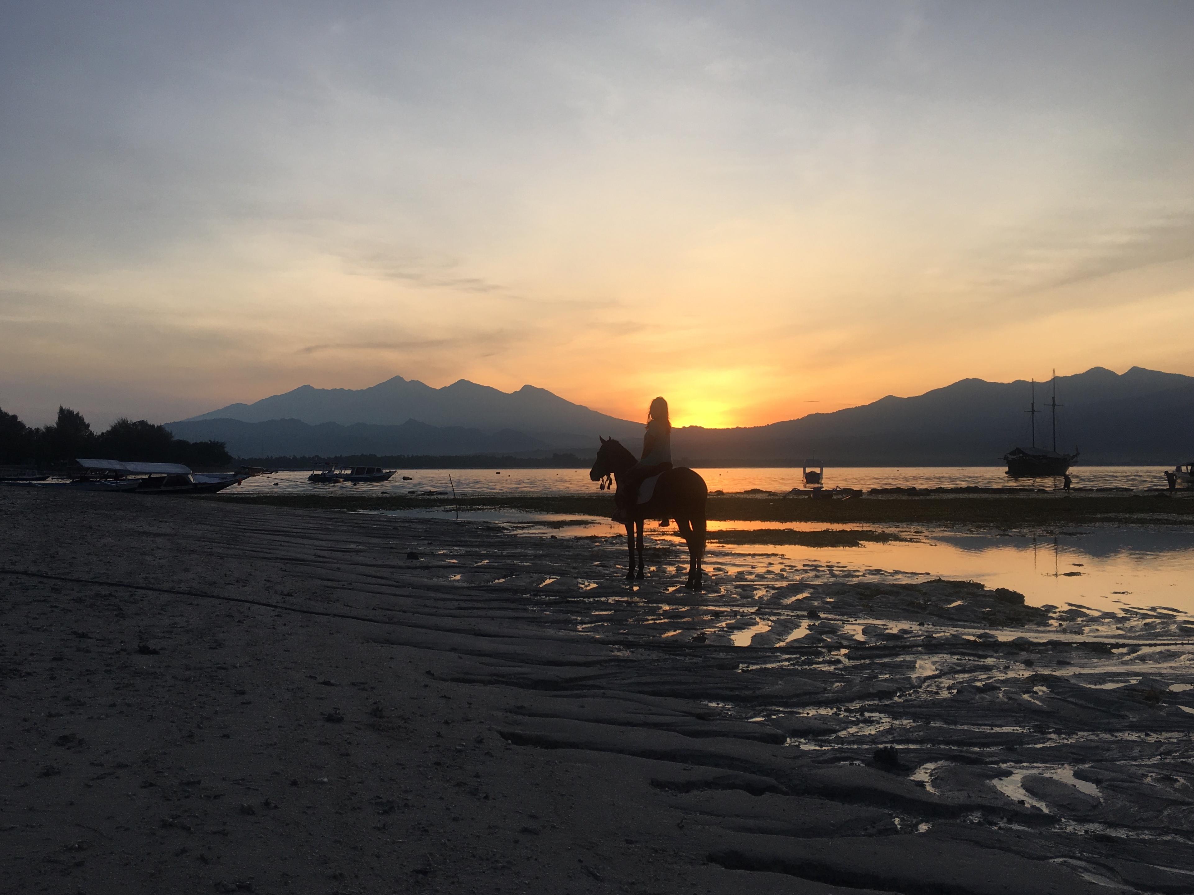 Gili eilanden, sunset, paardrijden